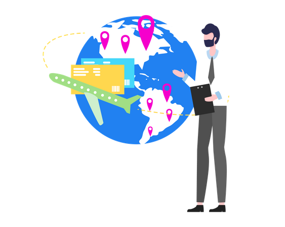 Man showing credit card and banking card as international level service Illustration