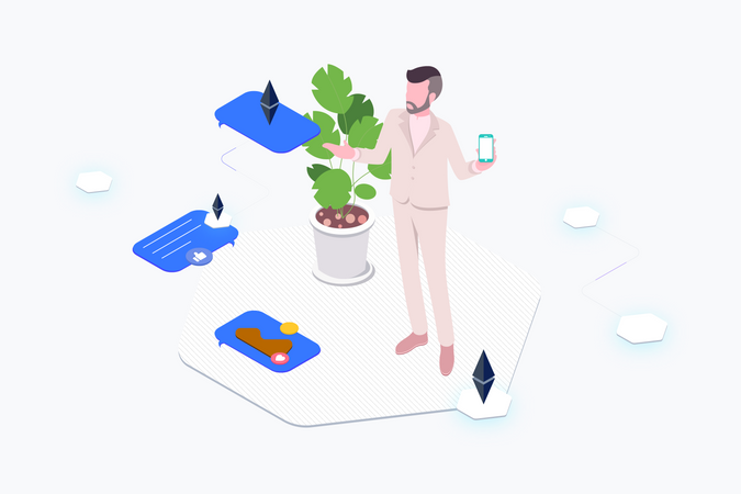 Man showing cryptocurrency messages on phone Illustration