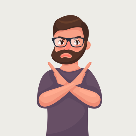 Man shows a gesture stop or no Illustration
