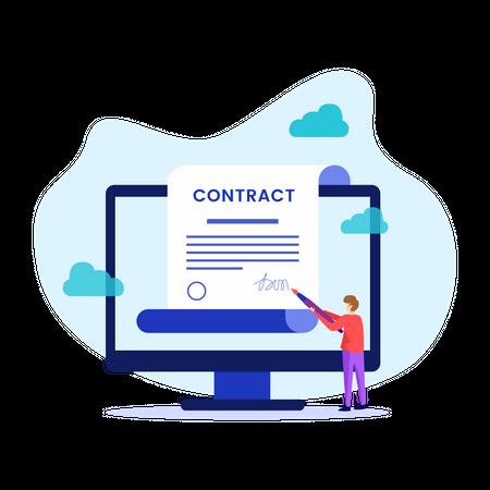 Man signing online agreement Illustration