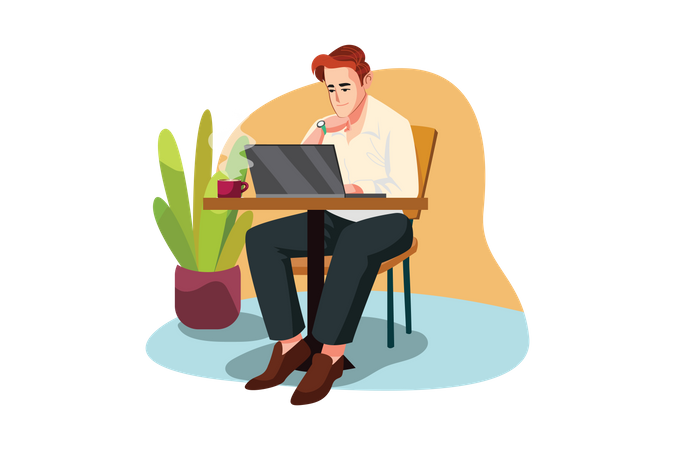 Man sitting at cafe working on a laptop Illustration
