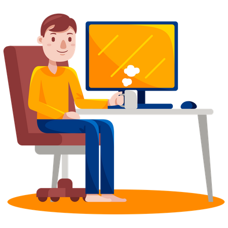 Man sitting at desk holding coffee cup Illustration