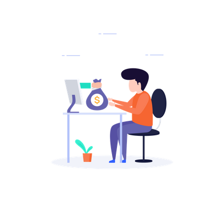 Man sitting in office and doing some online money transaction Illustration