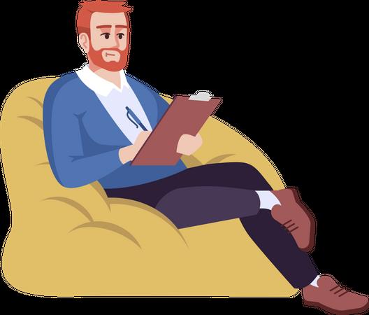 Man sitting on bean bag and writing Illustration
