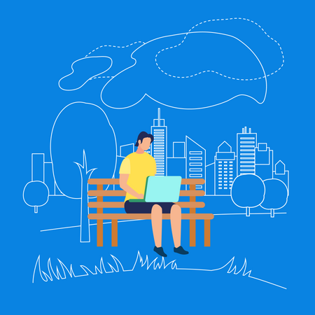 Man Sitting on Bench in Park with Laptop Illustration