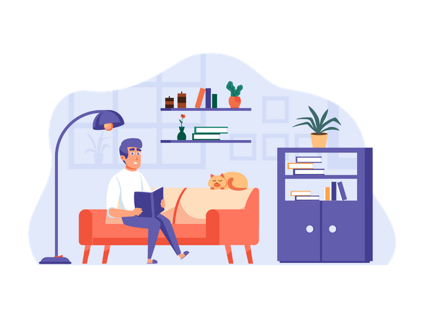 Man sitting on couch and reading book Illustration
