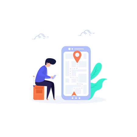 Man sitting on luggage bag and finding Location in map Illustration