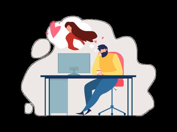 Man Sitting on Office desk with Romantic thinking Illustration