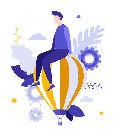 Man sitting on top of flying hot air balloon Illustration