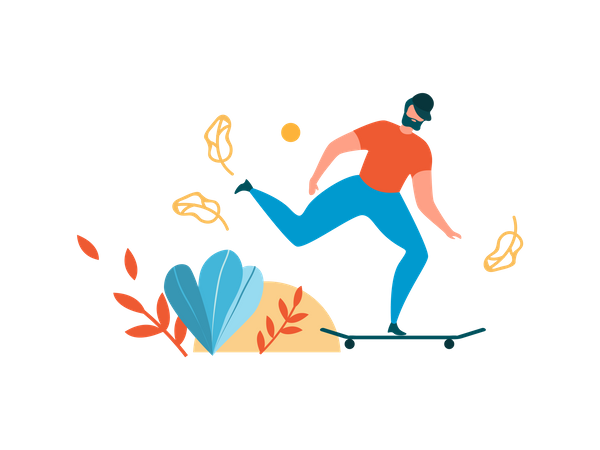 Man skateboarding in park Illustration
