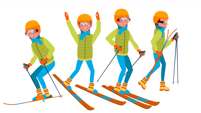 Man Skiing With Different Pose Illustration