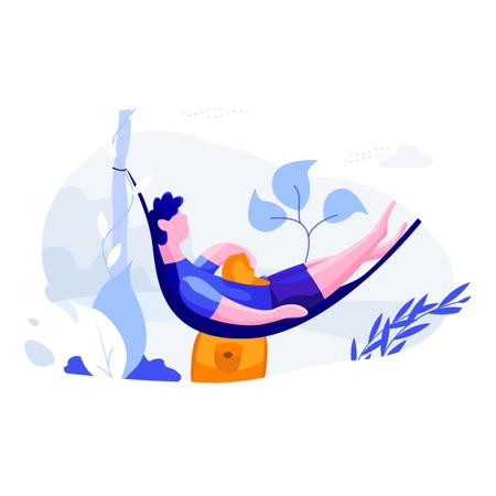 Man sleeping on rope swing on holiday Illustration