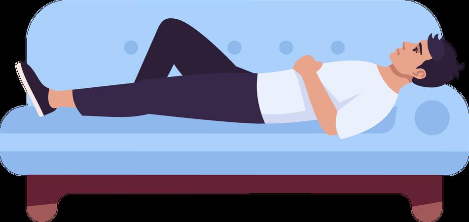 Man sleeping on sofa Illustration