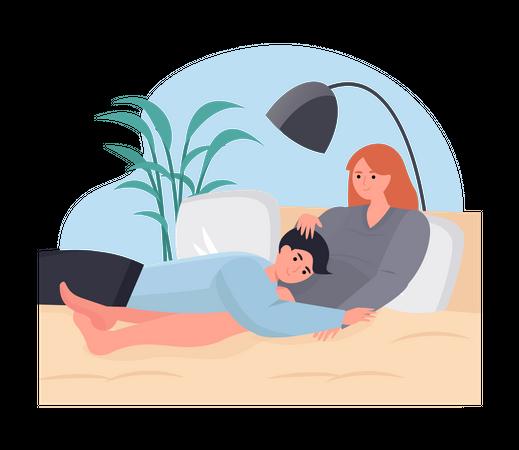 Man sleeping with woman Illustration