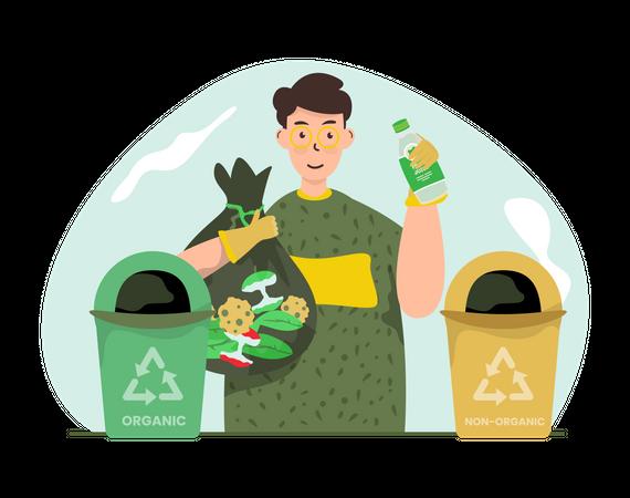 Man Sorting organic and non-organic waste Illustration