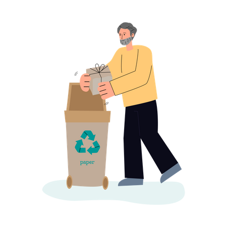 Man sorting paper waste in trash container Illustration