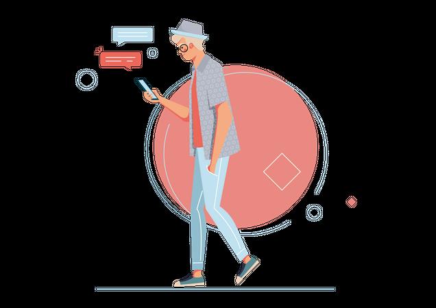 Man spending free time on mobile chatting Illustration