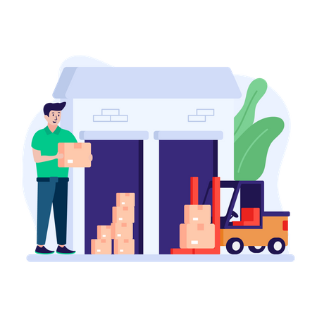 Man stacking boxes in the warehouse storage Illustration