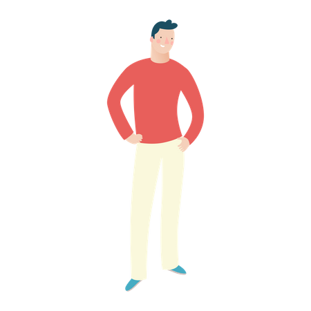 Man Standing Portrait Illustration