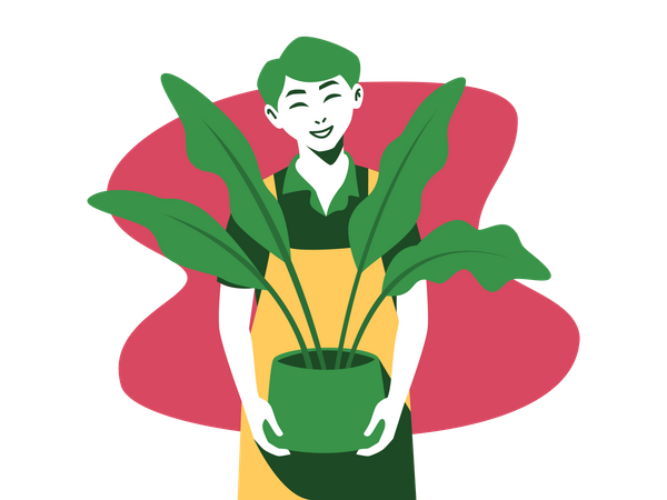Man standing with house plant Illustration