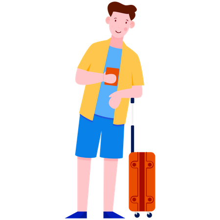 Man standing with Luggage and holding ticket Illustration