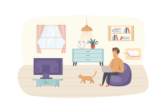Man studying using laptop sitting on bag chair with cat in living room Illustration