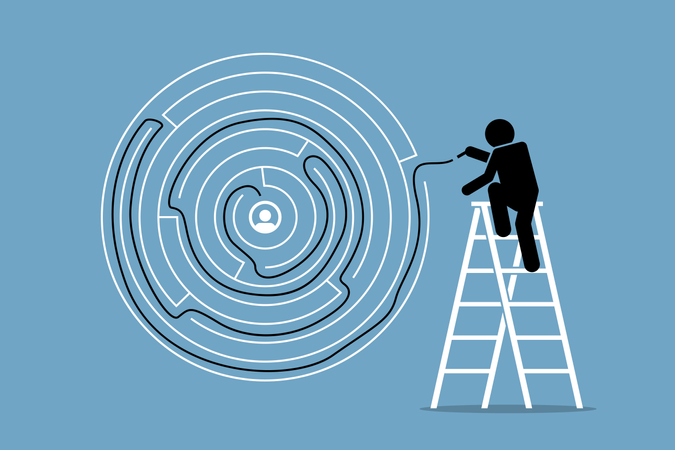 Man successfully finds the solution and way out of a round maze puzzle Illustration