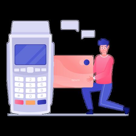 Man Swiping Credit Card Illustration