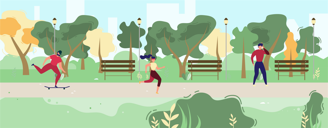 Man Talking on Phone, Bearded Guy Riding Skateboard, Sporty Woman Jogging Illustration