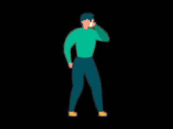 Man talking on smartphone Illustration
