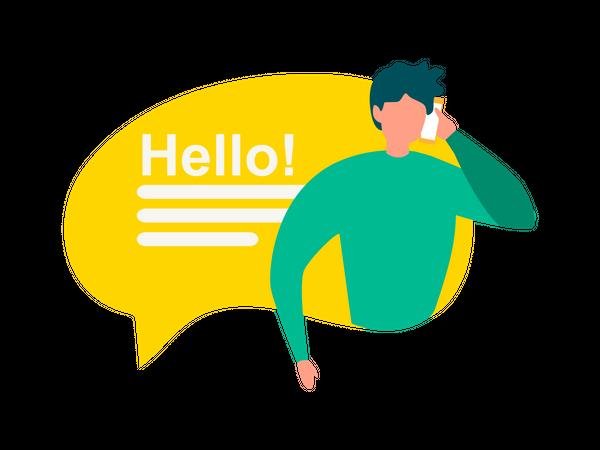Man talking over phone saying hello Illustration
