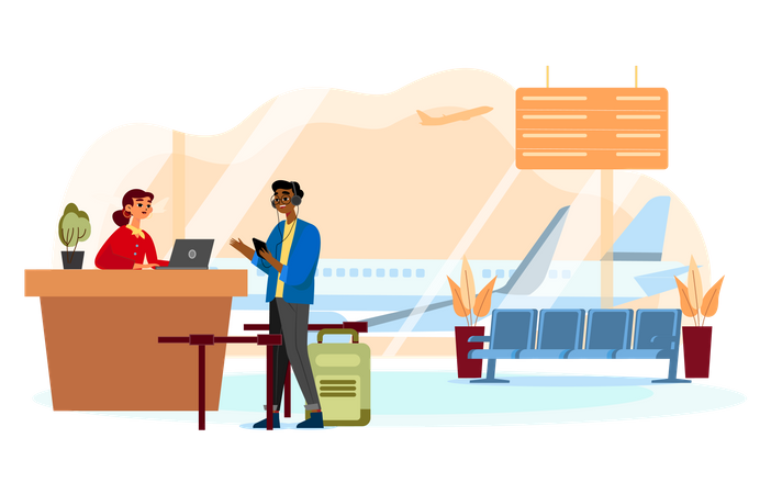 Man talking to an agent at the customer service desk at the airport Illustration