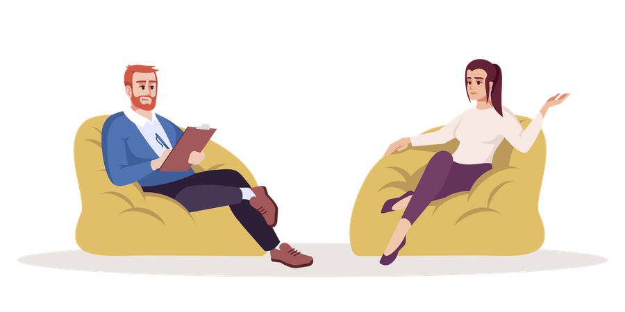 Man talking with woman and taking notes Illustration