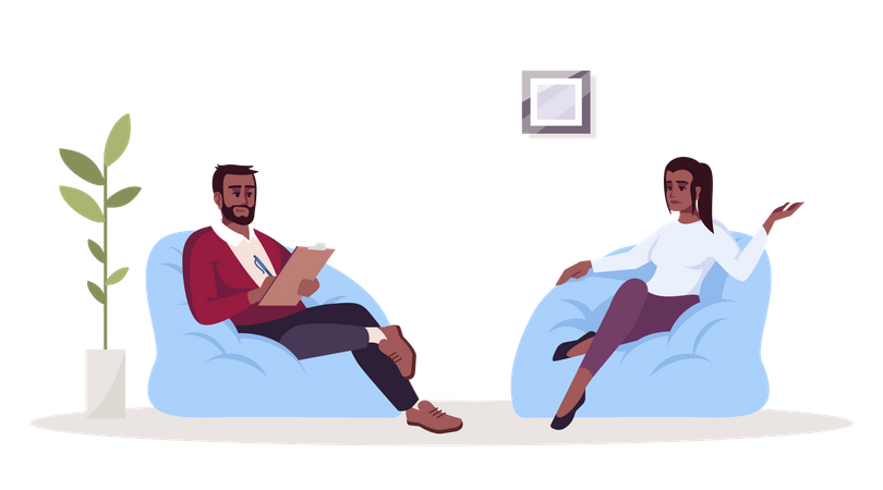 Man talking with woman and writing notes Illustration