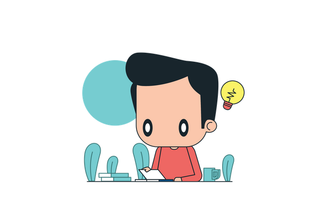 Man thinking about new startup Illustration