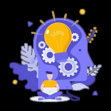 Man thinking about startup idea Illustration
