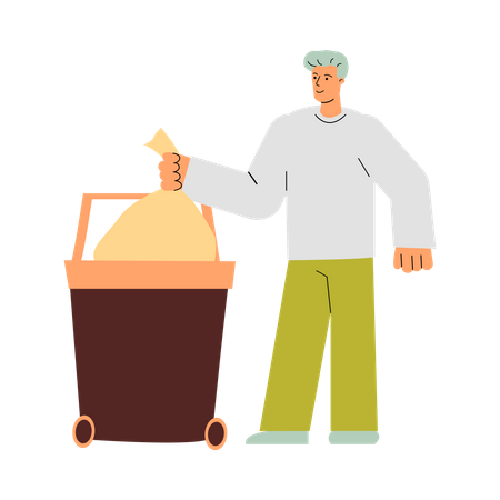 Man throwing clean trash bag in garbage container Illustration