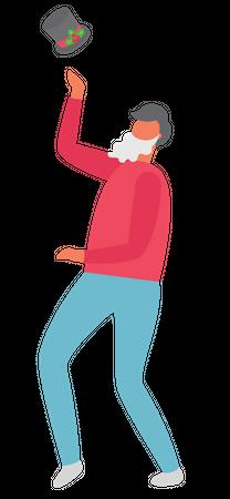 Man throwing hat in air Illustration