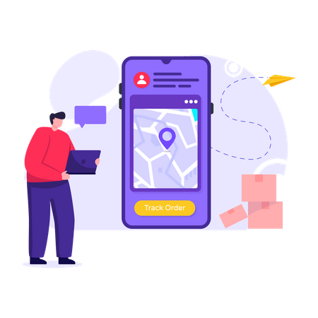 Man tracking delivery using smartphone application Illustration