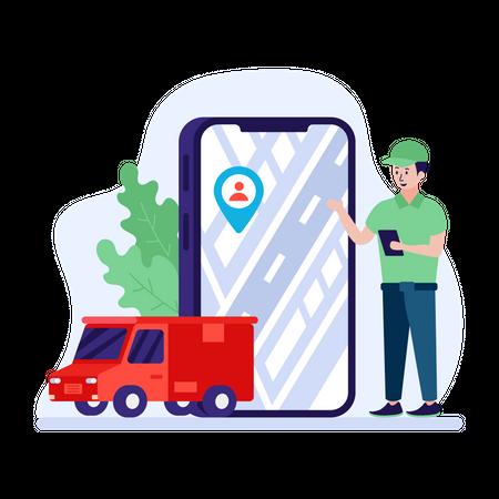 Man tracking shipment through mobile application Illustration