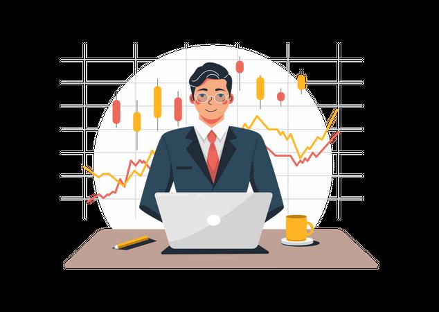 Man trading stocks Illustration
