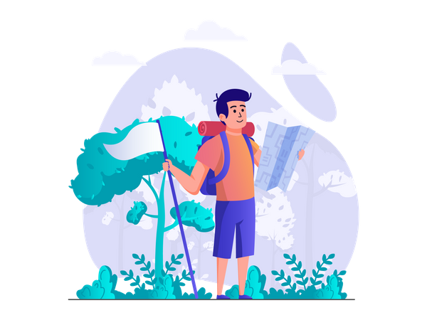 Man travelling and looking for direction Illustration
