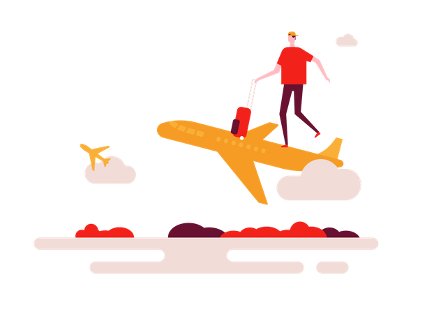 Man Travelling by plane Illustration