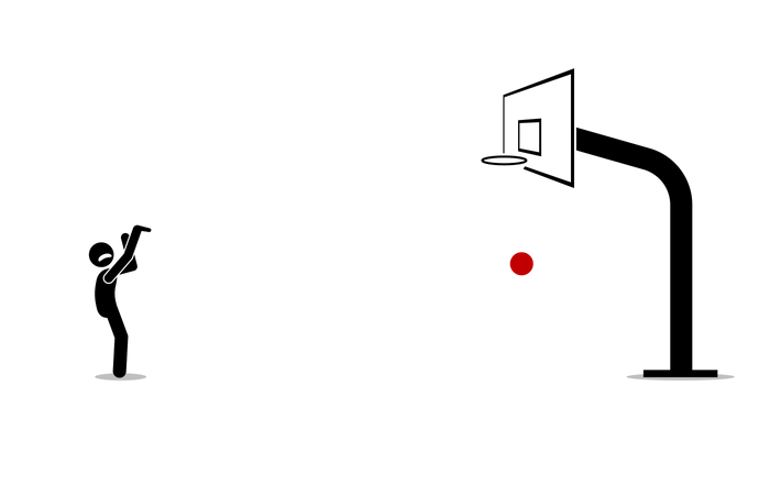 Man trying to shoot a basketball into a hoop Illustration