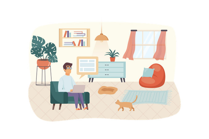 Man typeset website or making layout Illustration