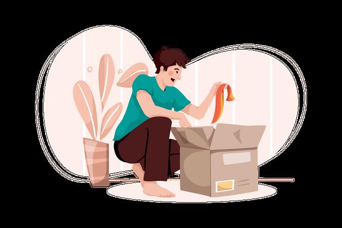 Man unpacking the paper box Illustration