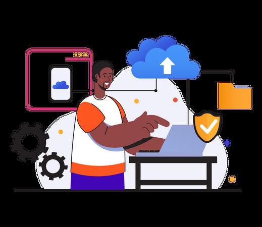 Man uploading data to secure cloud Illustration