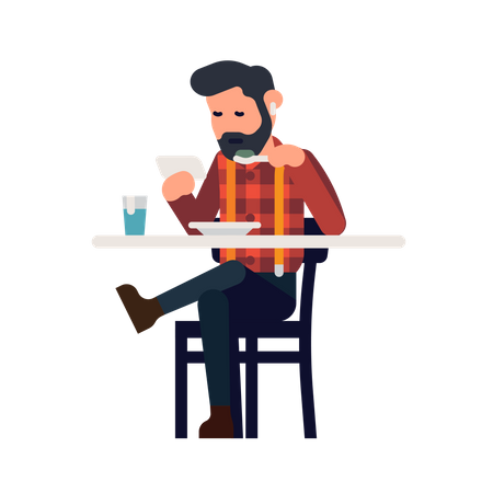 Man uses a phone while having a meal Illustration