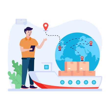 Man using cargo ship to deliver packages Illustration