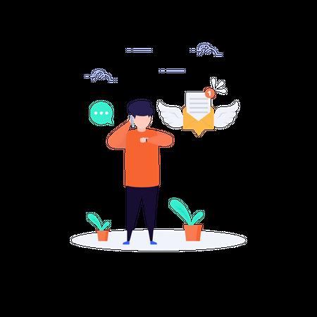 Man using communication tools Illustration